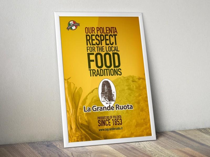 Grafica pubblicitaria per polenta